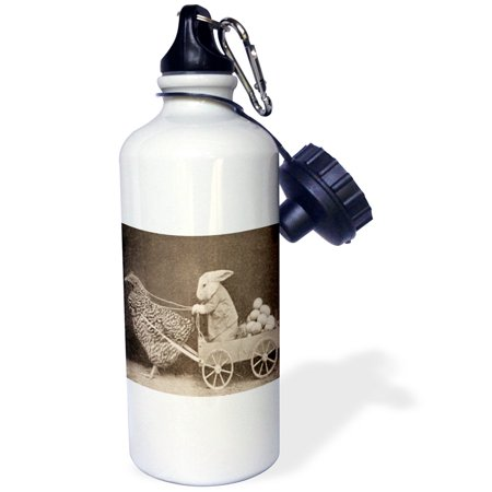 Bunny Pulling (3dRose Victorian Photo Rooster Pulling Bunny, Sports Water Bottle, 21oz )