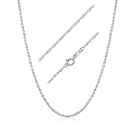 18 Inch Italian - Cable Chain Necklace Sterling Silver Italian 1.3mm Rhodium Plated Nickel Free 18 inch