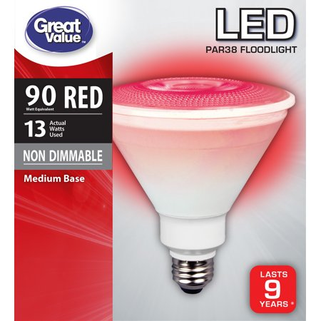 Great Value LED P38 Floodlight Light Bulb, 13W (90W Equivalent), Red 90w Led Grow Light