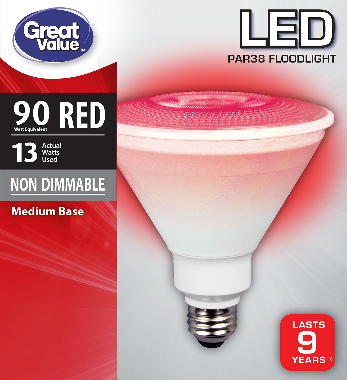 Great Value LED P38 Floodlight Light Bulb, 13W (90W Equivalent), Red