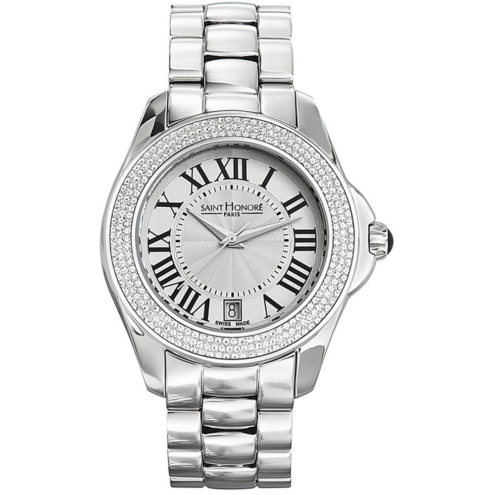 Saint Honore Women's Coloseo Diamond 30mm Silver-Tone Met...