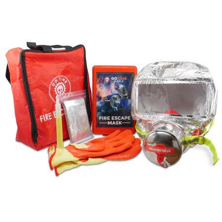 Deluxe Fire Escape Kit with 60 Minute Smoke Mask, Heat Reflective Mylar Thermal Blanket, Heat Resistant Gloves, and Bright Glow Stick by Go Time Gear