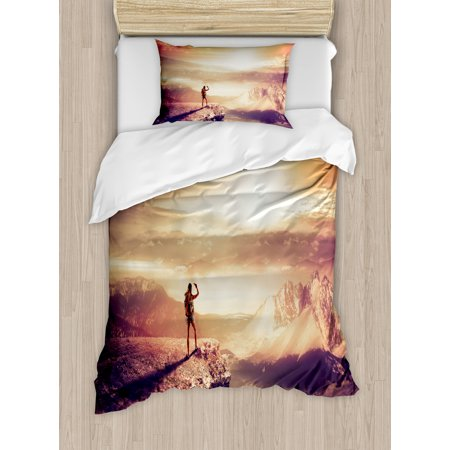 Adventure Twin Size Duvet Cover Set, Traveler Woman with Backpack on Mountain Surveying Sunset Adventure Photo Print, Decorative 2 Piece Bedding Set with 1 Pillow Sham, Multicolor, by Ambesonne ()