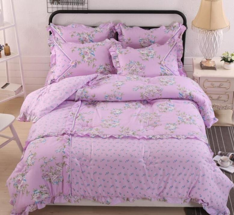 Traditional Floral Cotton Touch Comforter Set W/ Sheet HIGH QUALITY    Purple   King Size