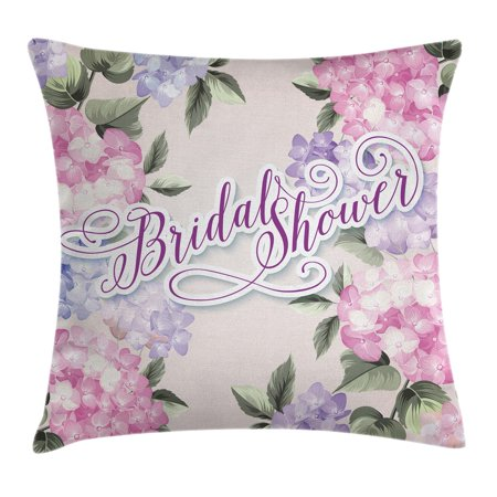 Shabby Chic Wedding - Bridal Shower Decorations Throw Pillow Cushion Cover, Shabby Chic Hydrangea Flowers Wedding Bride Image, Decorative Square Accent Pillow Case, 18 X 18 Inches, Purple and Light Pink, by Ambesonne