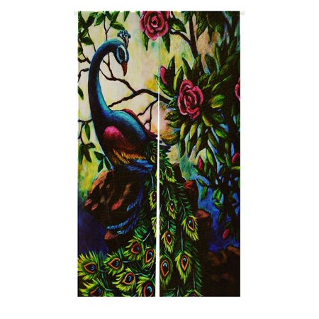 GCKG Artistic Paintings Graceful Peacock Doorway Curtain Japanese Noren Curtains Door Entrance Size 85x150