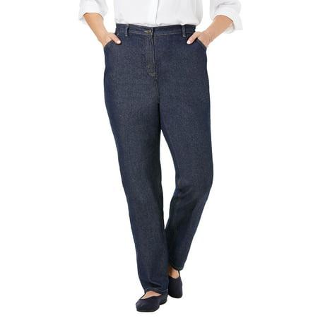 Woman Within Plus Size Petite Back-elastic Straight Leg Cotton Jean Jeans