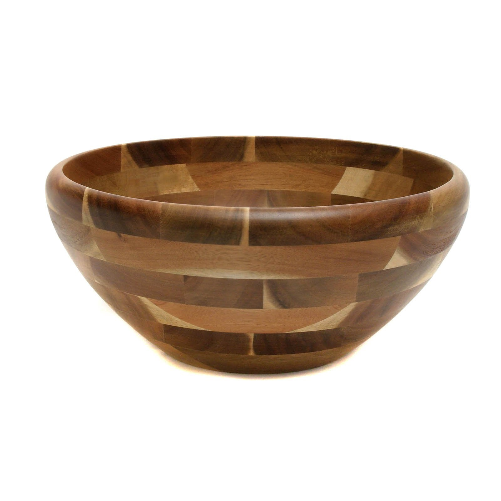 Lipper Large Footed Round Flared Wooden Bowl