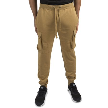Vibes Men's Wheat Fleece Moto Cargo Jogger Pants Rib Waist & (Base Cargo)