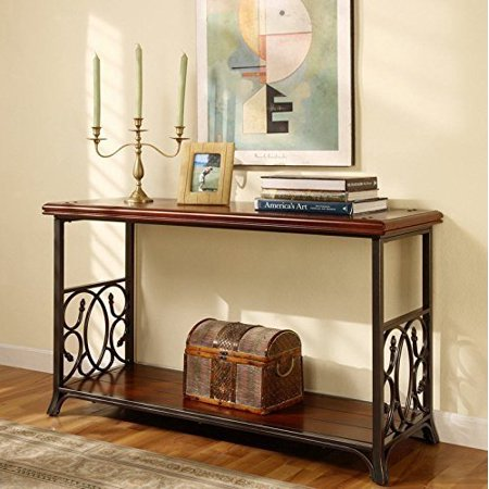(Traditional Sofa Table Exclusive Elegant Scrolled Metal and Wood)