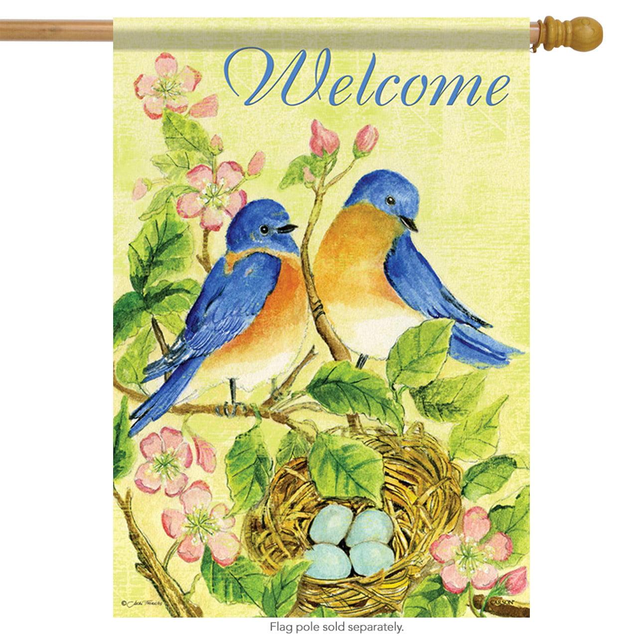 Watercolor Bluebirds Spring House Flag Welcome Floral Decorative Banner 28 X40 Walmart Com Walmart Com