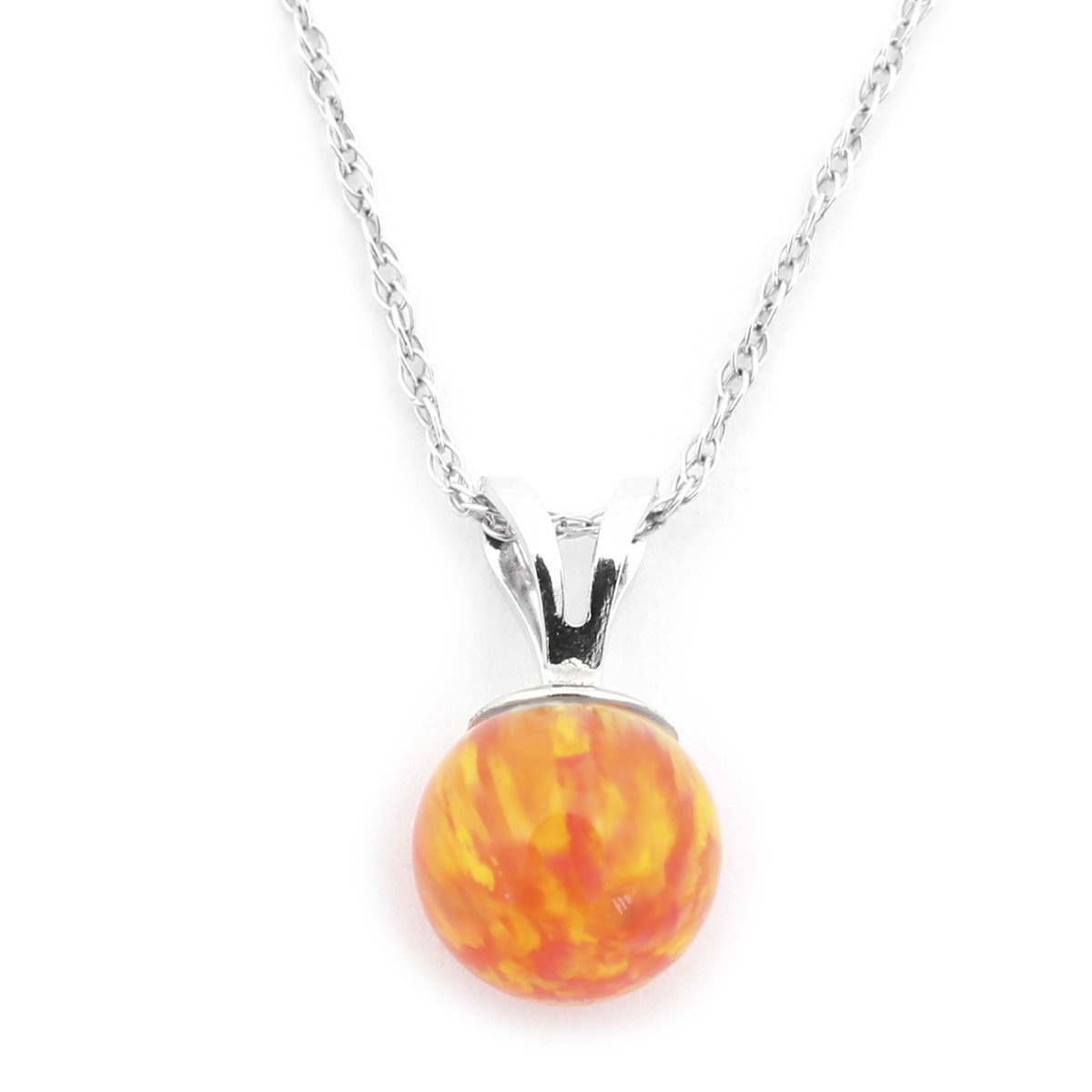 """14k Yellow or White Gold 8mm Orange Fire Simulated Opal Pendant Necklace, 13"""" 15"""" 16"""" 18"""" 20""""... by"""