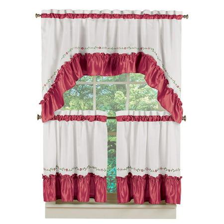 "Ashley Floral Vine Ruffled Trim Café Valance Curtain & Tier Set with Rod Pocket Tops, 24""L Tiers, Burgundy"