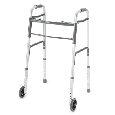 Deluxe Two-Button Folding Walker, Wheels Installed, Youth - Carton of 4