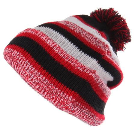 e9e46685c2c4c Enimay Winter Pom Pom Knit Beanie Cuffed Skull Cap Striped Team Beanie  Black