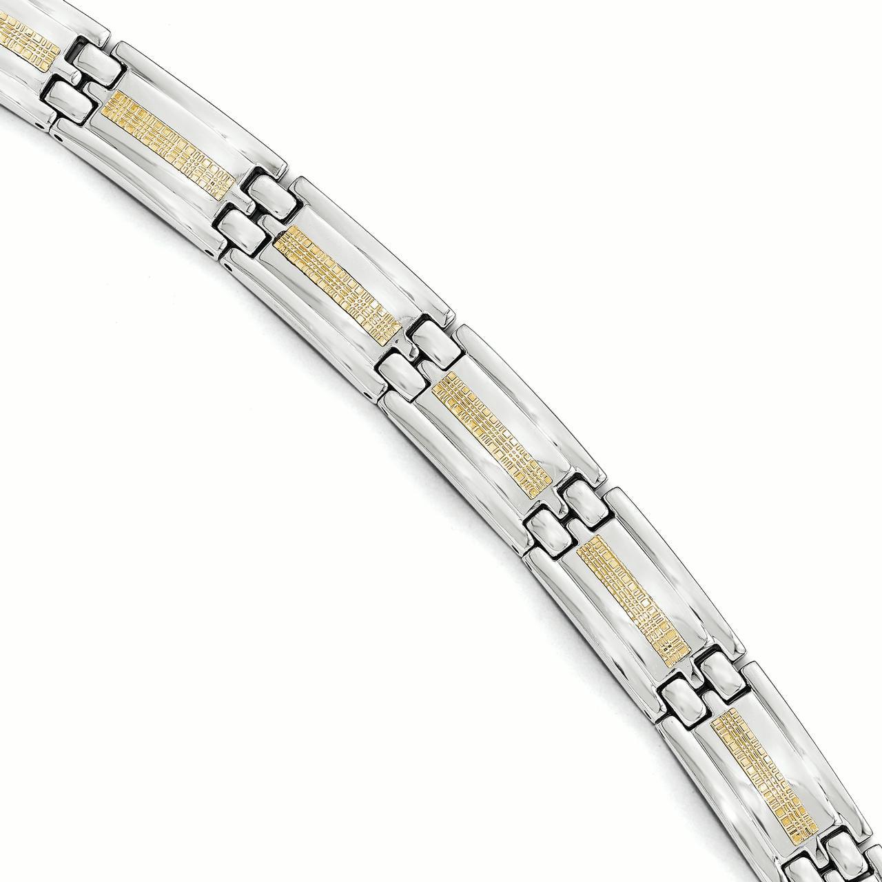 """Stainless Steel Polished w/14k Gold Link Bracelet 8.25 Inch """"Bracelets - image 2 de 2"""
