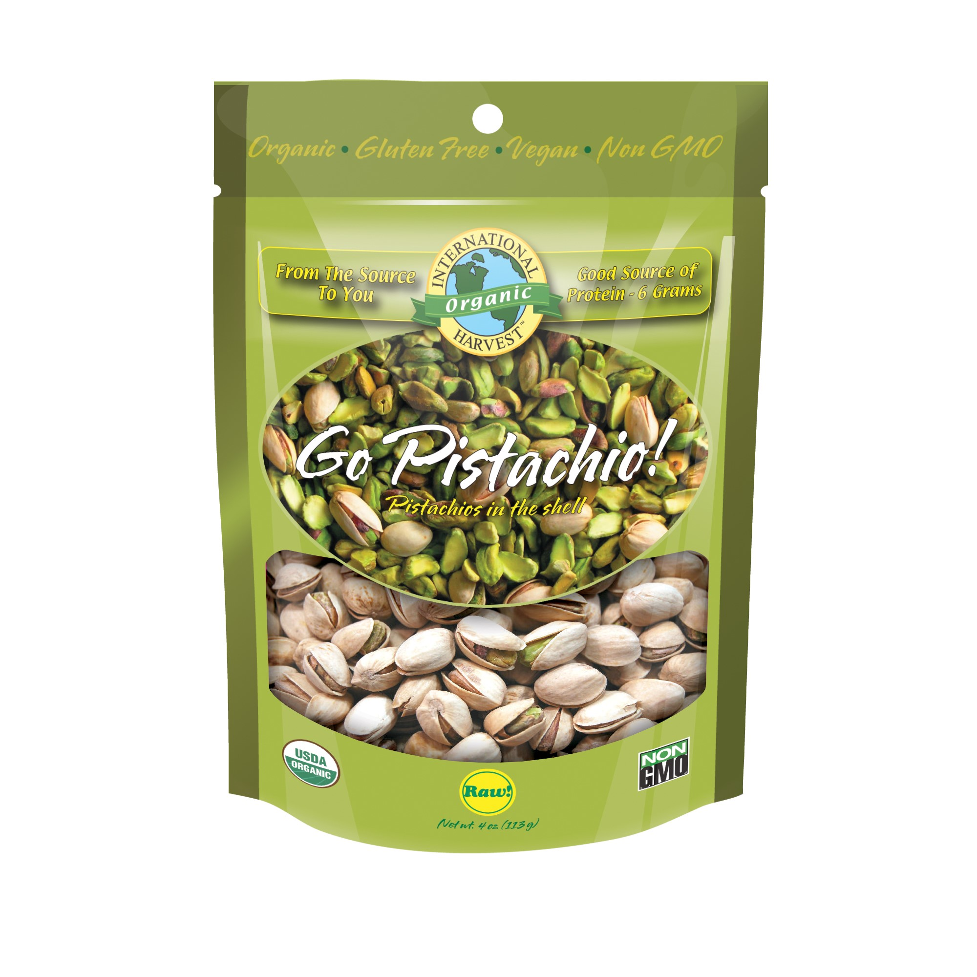 Organic Raw Pistachios in Shell 4 OZ. by International Harvest