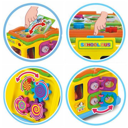 Children Battery Operated Multifunctional Intellectual School Bus, Bump and Go, Music and Light - image 3 of 7