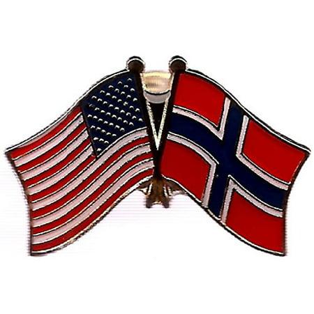 Lapel Pin Box (Box of 12 Norway & US Crossed Flag Lapel Pins, Norwegian & American Double Friendship Pin)