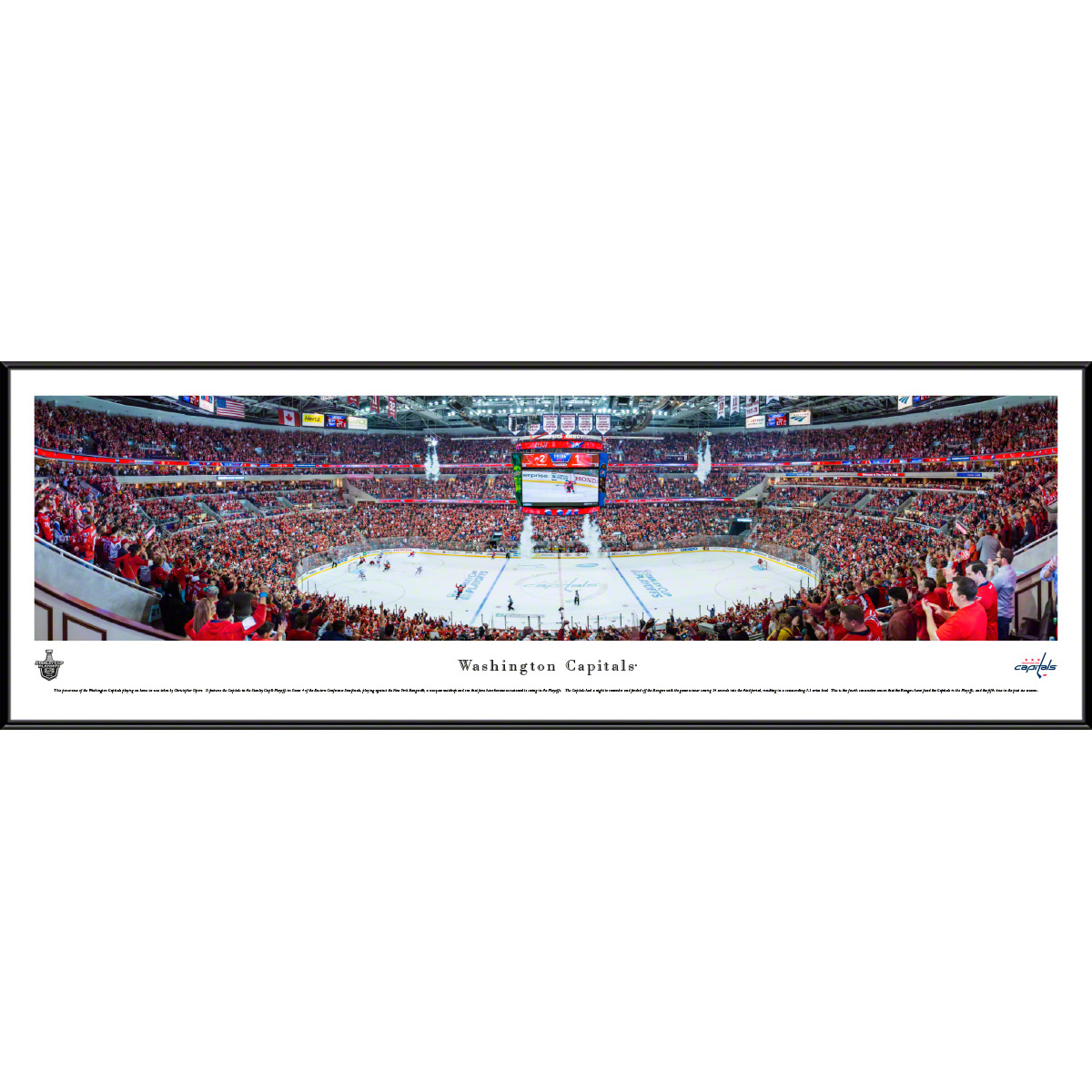 "Washington Capitals 40.25"" x 13.75"" Center Ice Standard Frame Panoramic Photo - No Size"