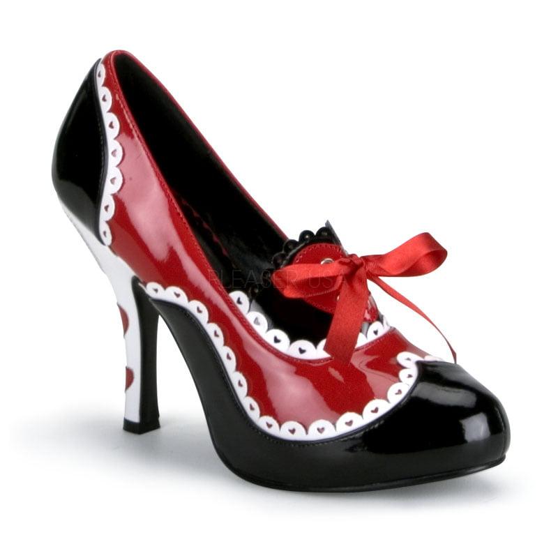 Pleaser QUEEN-03, Blk-Red-Wht Pat Queen Of Hearts Shoes