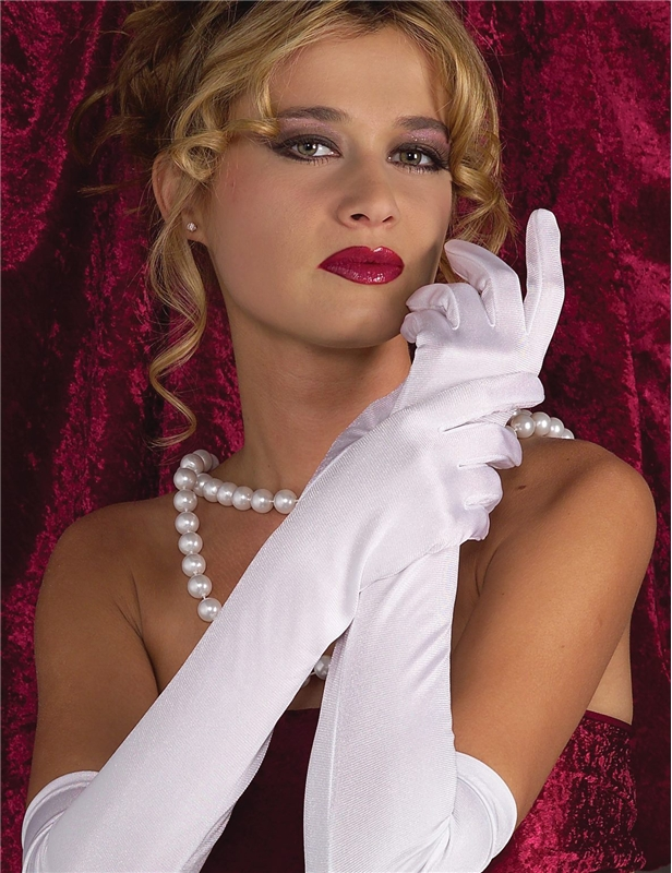 Ruched White Gloves