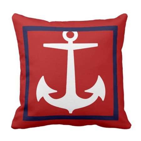 BPBOP White Boat Pixdezines Anchor Diy Nautical Blue Ocean Pillowcase Cover 16x16 inch for $<!---->