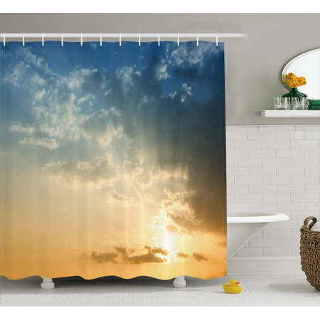 Yellow And Blue Shower Curtain Sky With Sun Rays Dusk Clouds Mystic Summer Air Tranquil Landscape