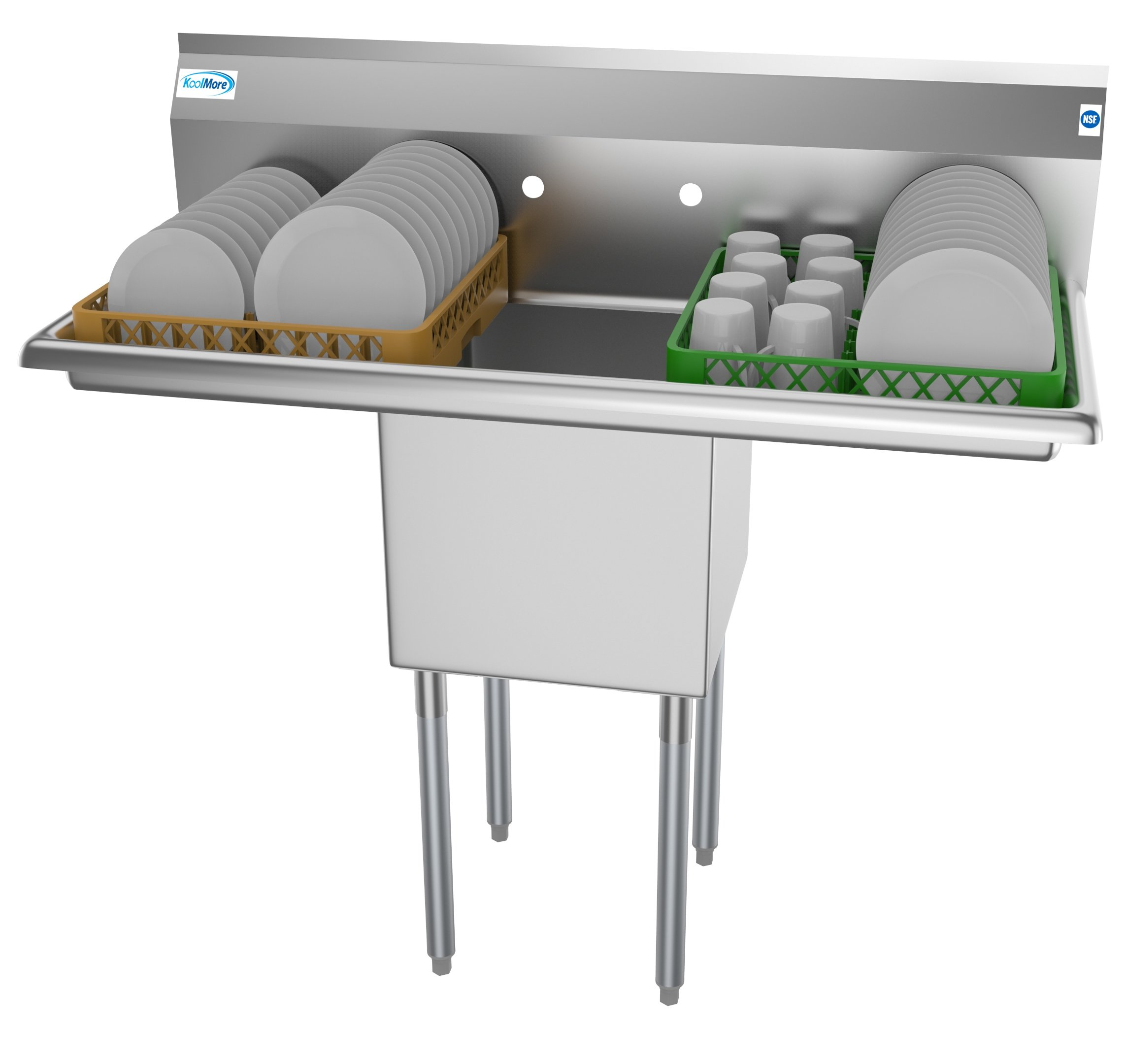 """1 Compartment 45"""" Stainless Steel Commercial Kitchen Prep & Utility Sink with 2 Drainboards - Bowl Size 15"""" x 15"""" x 12"""""""