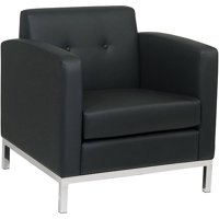 Wall Street Armchair, Black Faux Leather
