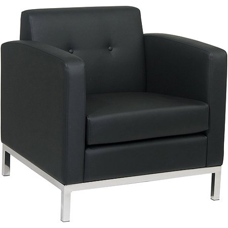 Avenue Six Wall Street Armchair  Black Faux Leather
