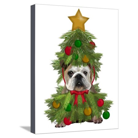 English Bulldog, Christmas Tree Costume Stretched Canvas Print Wall Art By Fab Funky - Christmas Tree Costumes