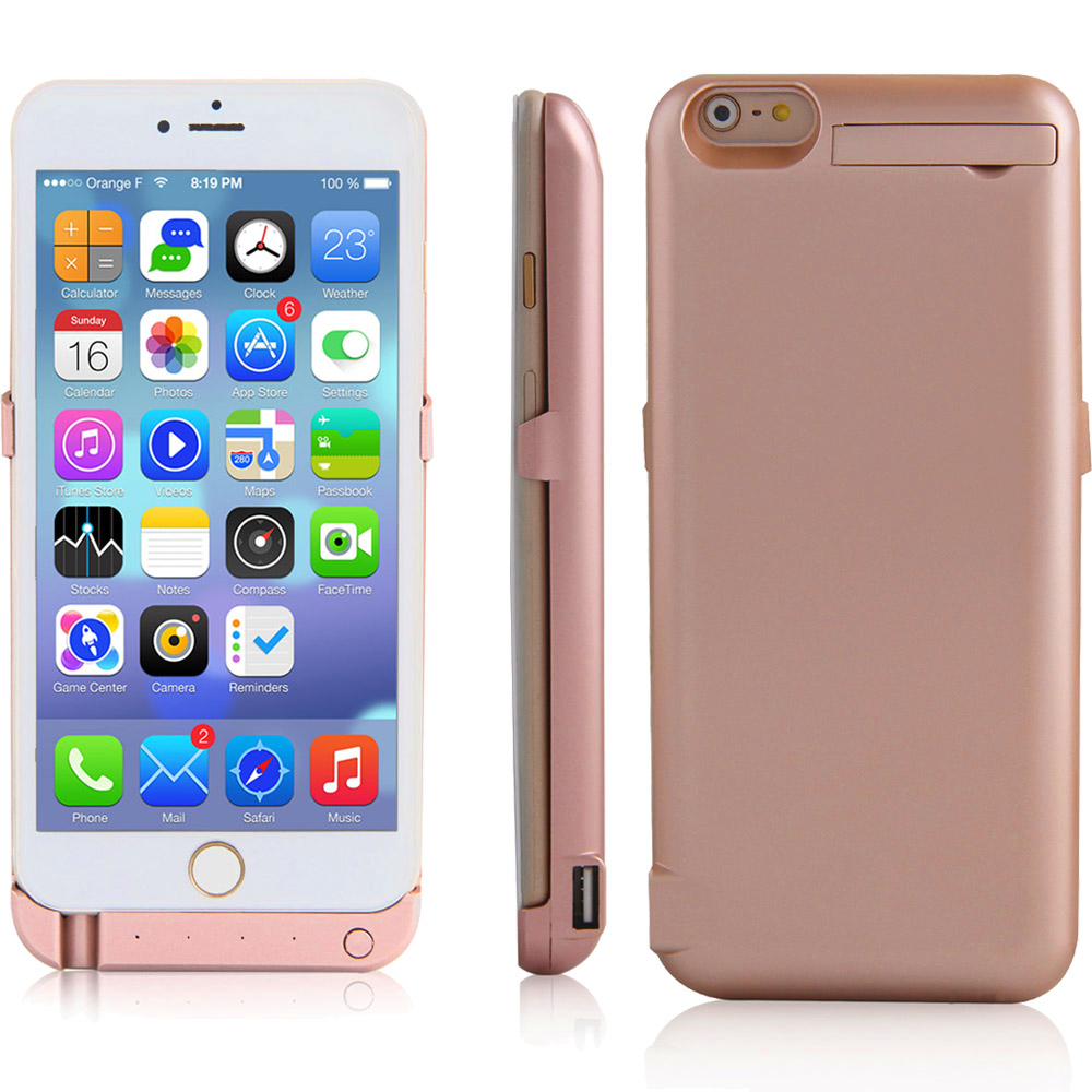 Indigi® 10000mAh Rechargeable PowerCase Protective Battery Cover w/ Additional USB Port for iPhone 6/6S (Rose Gold)