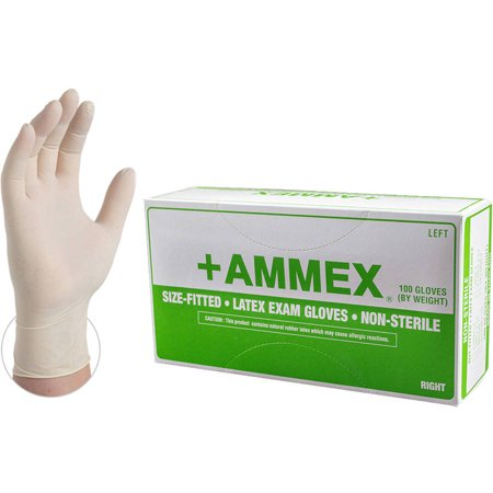 AMMEX Hand-Specific Latex Powdered Textured Exam Grade Disposable Gloves