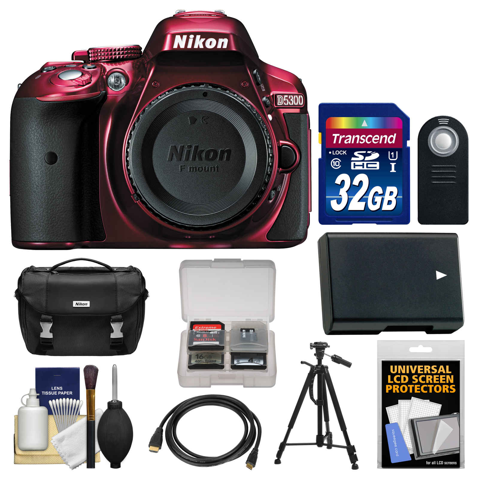 Nikon D5300 Digital SLR Camera Body (Red) with 32GB Card   Case   Battery   Tripod   HDMI Cable   Remote   Accessory Kit