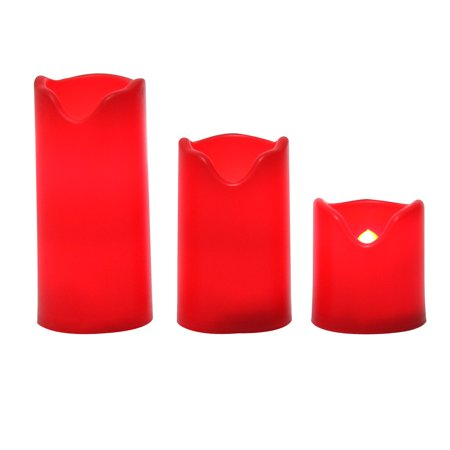 Candle Choice Flameless LED Battery Operated Pillar Candles with  Timer 3-Pack Long Lasting ()
