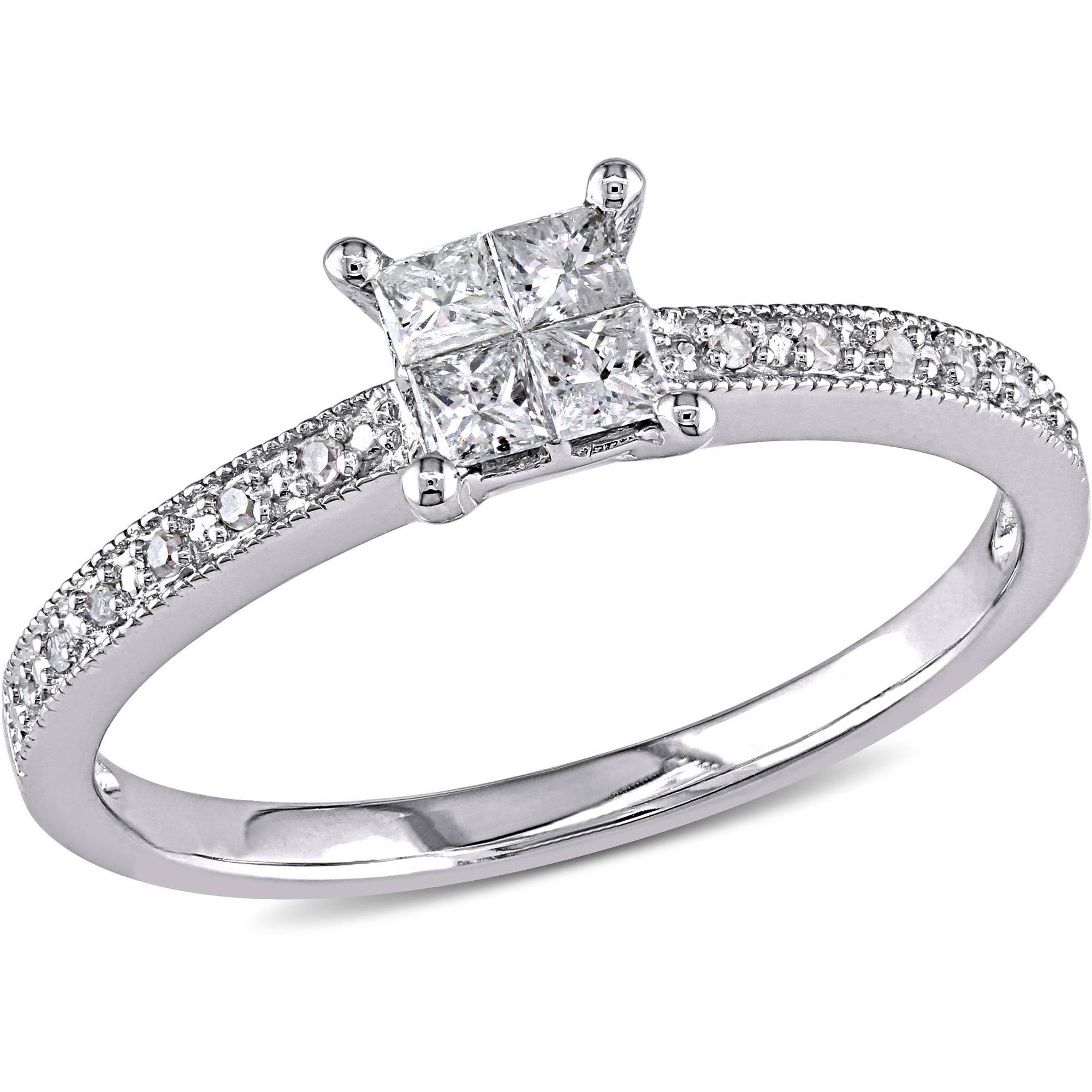 1/3 Carat T.W. Princess- and Round-Cut Diamond 10kt White Gold Cluster Engagement Ring