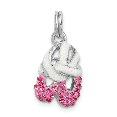 Roy Rose Jewelry Sterling Silver Pink CZ Enamel Ballet Slipper Charm