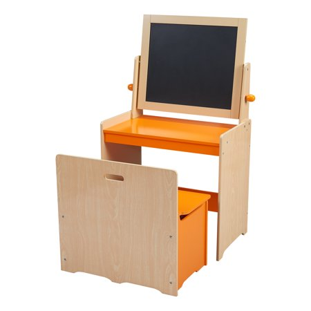 Senda Kids Art Desk and Chair with Wooden Activity Easel, Orange ()