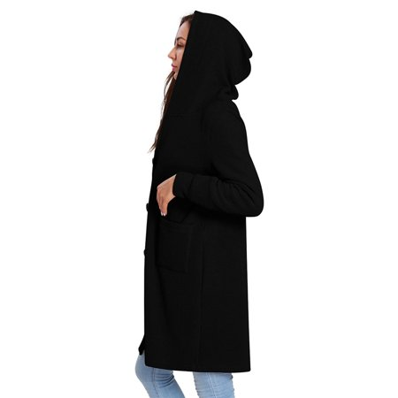 Women's Long Sleeve Knitted Hooded Long Trench Coat Cardigan Classic Coat (Leather Jacket With Knit Sleeves And Hood)