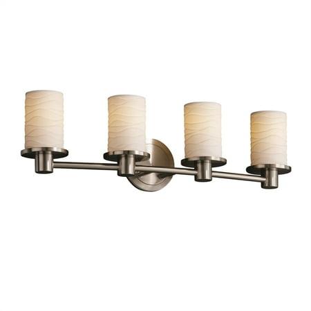 Justice Designs Limoges Rondo 4-LT Bath Bar - Brushed Nickel - POR-8514-10-WAVE-NCKL
