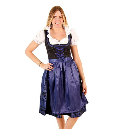 Oktoberfest Drindl Bavarian German Beer Girl BLUE Maid Costume Dress