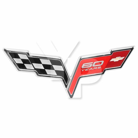 2005-13 C6 Corvette 60th Anniversary Front Hood Emblem; Black, Red & Chrome OEM GM Badge, For use on any 2005-2013 Corvette and replaces the original front emblem By General Motors