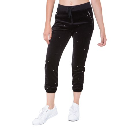Juicy Couture Velour Suit (Juicy Couture BLACK Dome Stud Embellished Velour Pants, US XLarge)