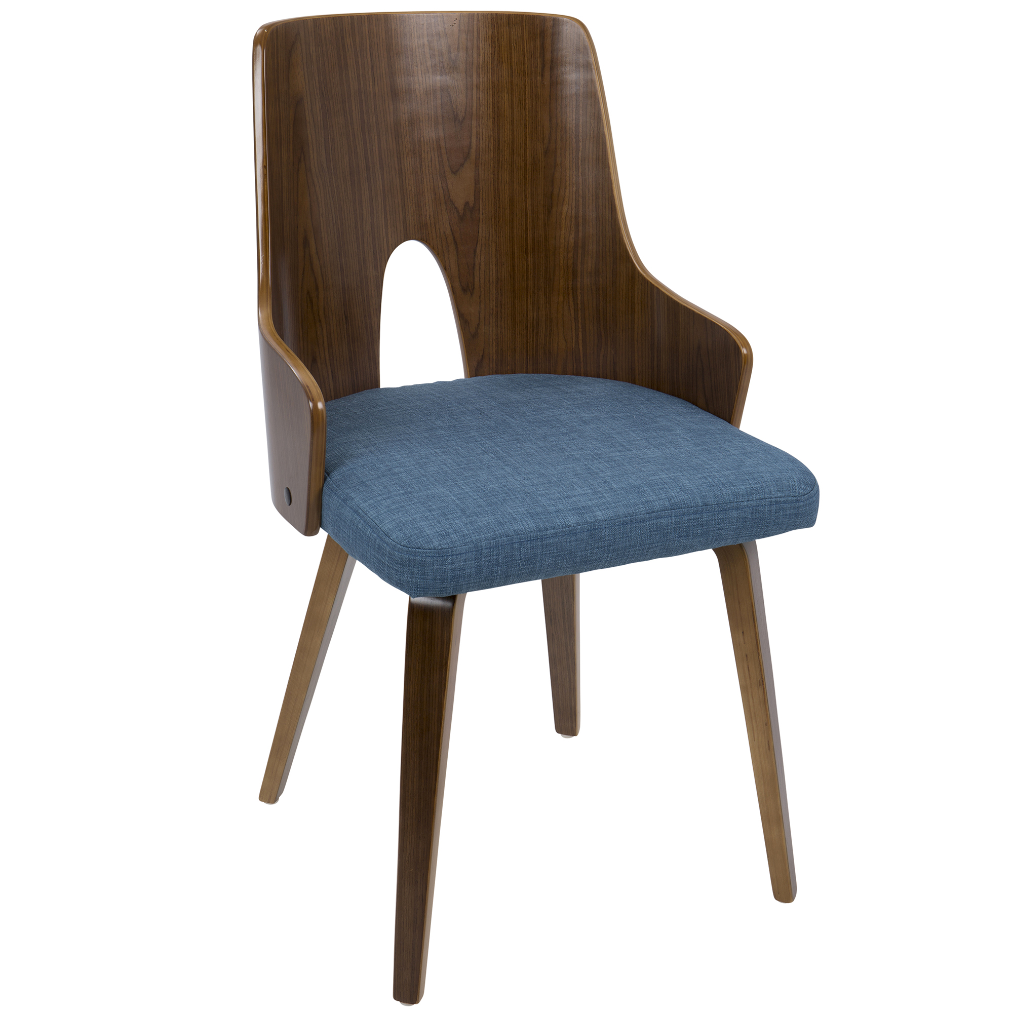 Ariana Mid-Century Modern Dining Accent Chair in Walnut and Blue Fabric by Lumisource Set of 2 by LumiSource