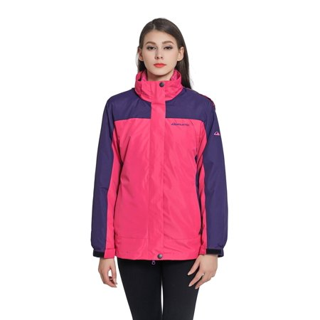 Purple Windbreaker - Women's 3-IN-1 MOUNTAIN THERMOTECH HOODED JACKET 3 in 1 Windbreaker Winter Jackets with Hood & Removable Quilted Puffer Jacket Lining- MEDIUM PURPLE/ROSE
