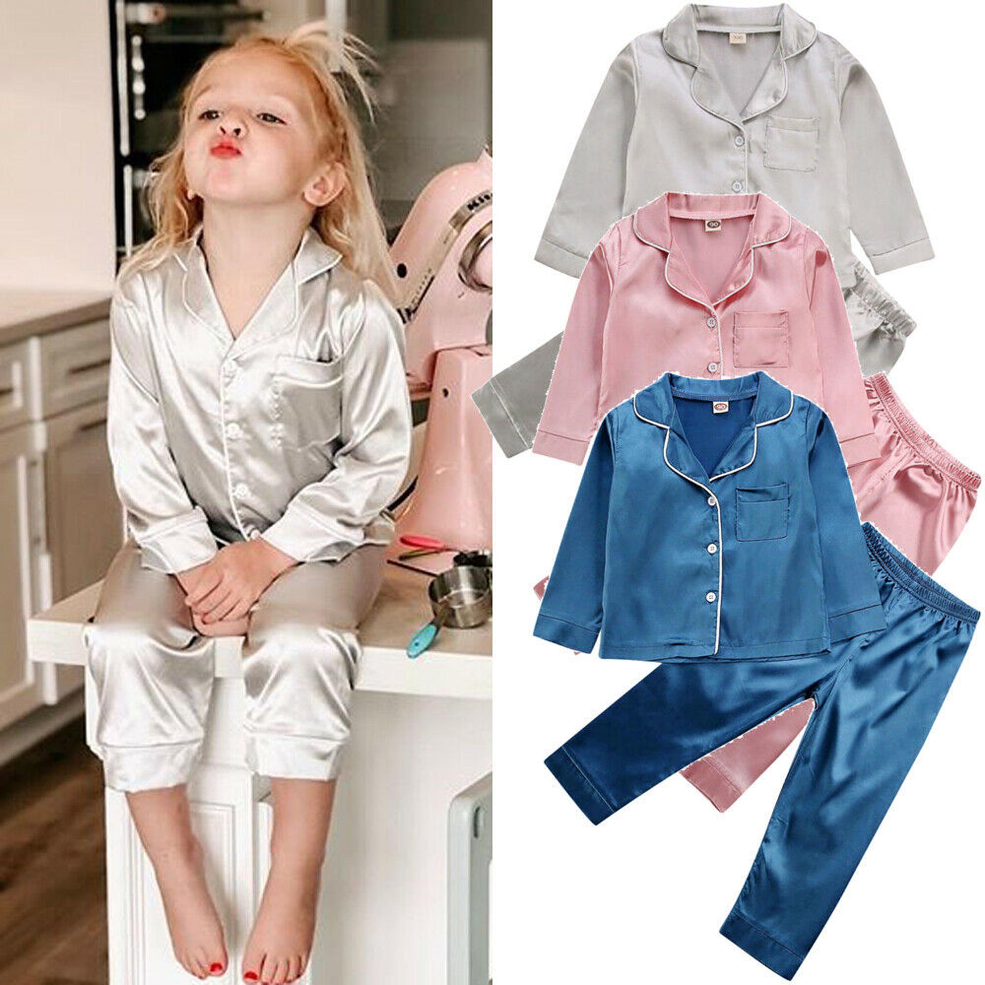 Toddler Kids Pajamas Girls And Boys Silk Sleep Wear Nightwear Soft Cotton Outfit