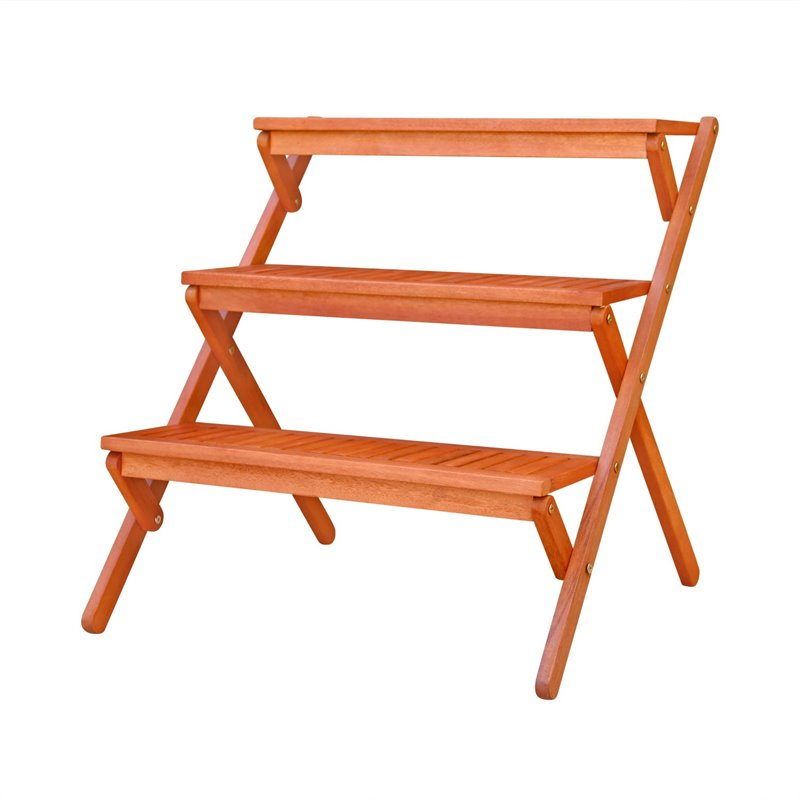 Outdoor Wood Three-Layer Plant Stand by DVG