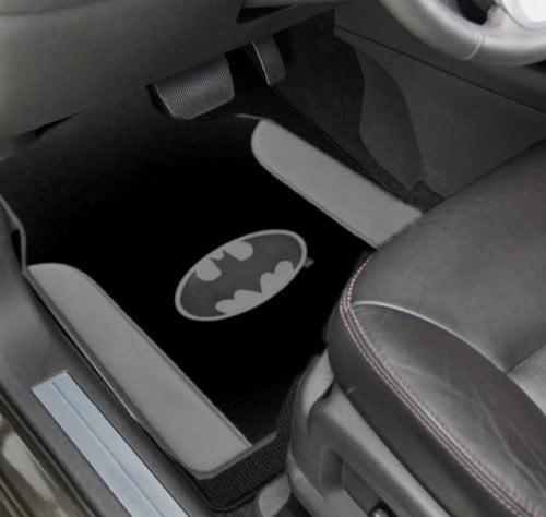 Batman 4pc Gotham City Gray Leather Trim Silver Logo Front & Rear Plush Carpet & Leather Trim Car Truck SUV... by LavoHome