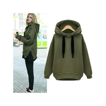 Cyber Monday Deals! Women's Long Sleeve Hoodies Sweatshirt for Women, Green Black Gray Casual Pullover Sweatshirts for Juniors, Gift Leisure Side